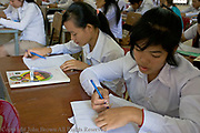 Students are taking an examination at the University of Agriculture in Kampong Cham, Cambodia.