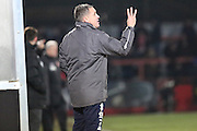 Cheltenham manager Paul Buckle during the Sky Bet League 2 match between Cheltenham Town and Morecambe at Whaddon Road, Cheltenham, England on 16 January 2015. Photo by Shane Healey.