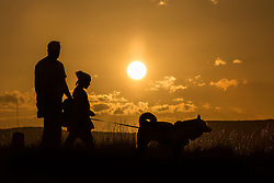 © Licensed to London News Pictures. 28/08/2015. Huddersfield, UK. Picture shows dog walkers enjoying the good weather on Castle Hill in Huddersfield. Whilst the UK is expecting unsettled weather over the bank holiday weekend Yorkshire is experiencing clear skies & bright sunshine. Photo credit: Andrew McCaren/LNP