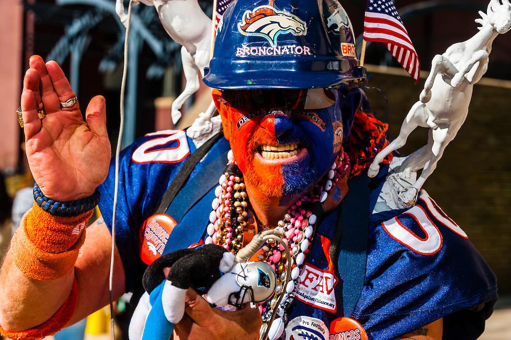 The Broncnator, Denver Broncos Super Bowl 50 Victory Parade, Downtown Denver, Colorado USA.