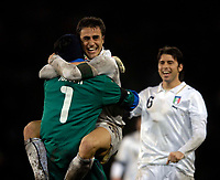 Photo: Jed Wee/Sportsbeat Images.<br /> Scotland v Italy. UEFA European Championships Qualifying. 17/11/2007.<br /> <br /> Italy captain Fabio Cannavaro celebrates in the arms of goalkeeper Gianluigi Buffon at the final whistle.