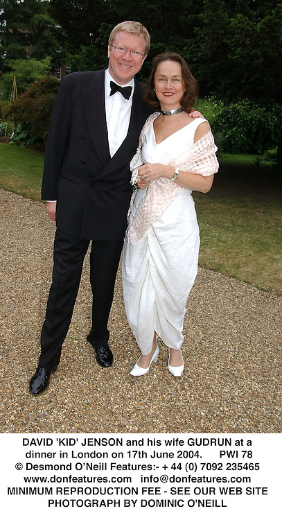 DAVID 'KID' JENSON and his wife GUDRUN at a dinner in London on 17th June 2004.  PWI 78