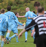 Former Dundee United and Scotland defender Gary Kenneth (4) is congratulated after heading Fairfield's first goal in their 2-1 win over Cutty Sark (black and white) in the Dundee Sunday FA League Cup Final at Downfield Park<br /> <br />  - &copy; David Young - www.davidyoungphoto.co.uk - email: davidyoungphoto@gmail.com