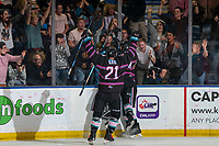 KELOWNA, BC - SEPTEMBER 21: Jake Lee #21 of the Kelowna Rockets celebrates the overtime game winning goal against the Spokane Chiefs at Prospera Place on September 21, 2019 in Kelowna, Canada. (Photo by Marissa Baecker/Shoot the Breeze)