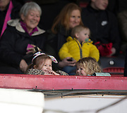 1st April 2018, Dens Park, Dundee, Scotland; Scottish Premier League football, Dundee versus Heart of Midlothian; Young fans
