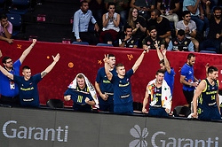 Matic Rebec of Slovenia, Luka Doncic of Slovenia, Vlatko Cancar of Slovenia, Edo Muric of Slovenia, Aleksej Nikolic of Slovenia, Gasper Vidmar of Slovenia react during basketball match between National Teams of Slovenia and Spain at Day 15 in Semifinal of the FIBA EuroBasket 2017 at Sinan Erdem Dome in Istanbul, Turkey on September 14, 2017. Photo by Vid Ponikvar / Sportida
