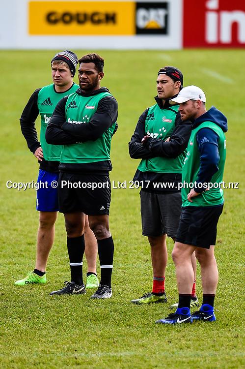 Jack Goodhue, Seta Tamanivalu, David Havili and Ryan Crotty  during Crusaders training at Rugby Park, Christchurch, New Zealand, 29 May 2017.Copyright photo: John Davidson / www.photosport.nz