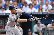 New York Yankees shortstop Derek Jeter shatters his bat on a ground out against the Kansas City Royals during the seventh inning at Kauffman Stadium.