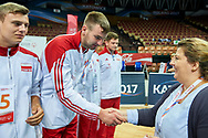 Katowice, Poland - 2017 September 03: (R) Joanna Styczen - Lasocka (National General Director of Special Olympics Poland) with SO Poland while Awarding Ceremony during European Unified Volleyball Tournament 2017 at Spodek Hall on September 03, 2017 in Katowice, Poland.<br /> <br /> Adam Nurkiewicz declares that he has no rights to the image of people at the photographs of his authorship.<br /> <br /> Picture also available in RAW (NEF) or TIFF format on special request.<br /> <br /> Any editorial, commercial or promotional use requires written permission from the author of image.<br /> <br /> Image can be used in the press when the method of use and the signature does not hurt people on the picture.<br /> <br /> Mandatory credit:<br /> Photo by © Adam Nurkiewicz / Mediasport
