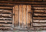 Old wood door. The Hardanger Folk Museum was founded in 1911 in Utne, Norway.
