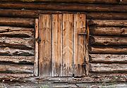 Old wood door. The Hardanger Folk Museum was founded in 1911 in Utne, Norway.