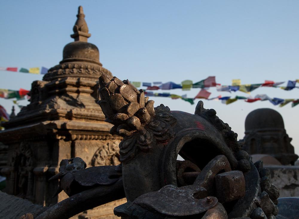 Earthquake damage at Swayambhunath Stupa in Kathmandu, Nepal
