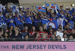 Apr 10; Newark, NJ, USA; Fans of former NHL team the Quebec Nordiques during the first period of the game between the New Jersey Devils and the Boston Bruins at the Prudential Center.