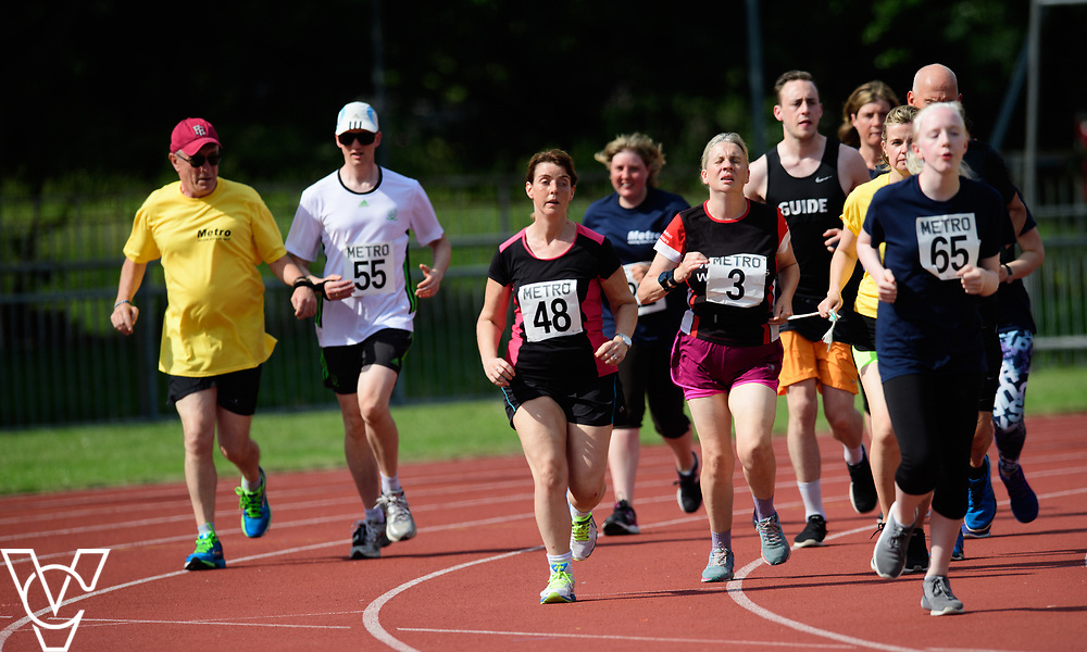 Metro Blind Sport's 2017 Athletics Open held at Mile End Stadium.  5000m. From left, Competitor #55 with guide runner, Deborah Reynolds, Angela McCool, Lynn Cox with guide runner and Emma Quigley<br /> <br /> Picture: Chris Vaughan Photography for Metro Blind Sport<br /> Date: June 17, 2017