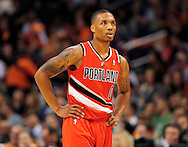 Nov. 21, 2012; Phoenix, AZ, USA; Portland Trail Blazers guard Damian Lillard (0) stands on the court during the game against the Phoenix Suns in the first half at US Airways Center. Mandatory Credit: Jennifer Stewart-US PRESSWIRE