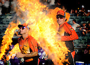 Daniel Wilkins, The Sunday Times - KFC T20 Big Bash League - Perth Scorchers import Herschelle Gibbs and skipper Marcus North make their way out onto the field for their clash with Hobart.