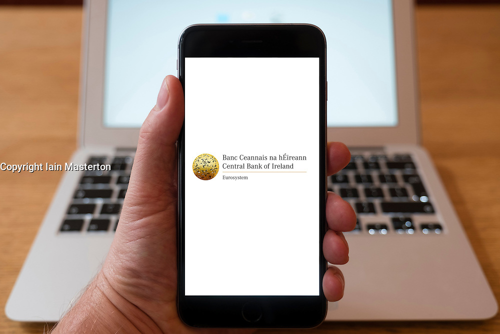 Using iPhone smart phone to display website logo of Central Bank of Ireland