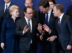 Lithuanian President Dalia Grybauskaite, French President Francois Hollande, Dutch Prime Minister Mark Rutte and European Council President Donald Tusk (from L to R, front) talk at family photo session during a two-day European Union leaders summit at the EU Council headquarters in Brussels, Belgium, March 17, 2016. EXPA Pictures © 2016, PhotoCredit: EXPA/ Photoshot/ Ye Pingfan<br /> <br /> *****ATTENTION - for AUT, SLO, CRO, SRB, BIH, MAZ, SUI only*****