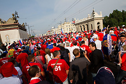Russian fans at march through Warsaw to mark their national day before UEFA EURO 2012 group A match between Poland and Russia on June 12, 2012 in Jerozolimskie street, Warsaw, Poland.  (Photo by Vid Ponikvar / Sportida.com)