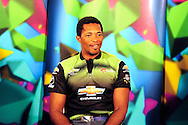 Makhaya Ntini preparing for a TV interview during the Warriors press conference held at The Radisson Blu  hotel in Port Elizabeth on the 7th September 2010 held as part of the build up to the Champions League T20 tournament being held in South Africa between the 10th and 26th September 2010..Photo by: Deryck Foster/SPORTZPICS/CLT20