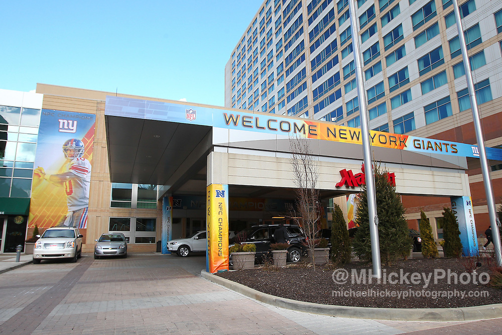 Jan. 29, 2012; Indianapolis, IN, USA; Super Bowl XLVI signage on the Indianapolis Marriott Downtown Hotel which serves as the team hotel for the New York Giants in downtown Indianapolis. Mandatory credit: Michael Hickey-US PRESSWIRE