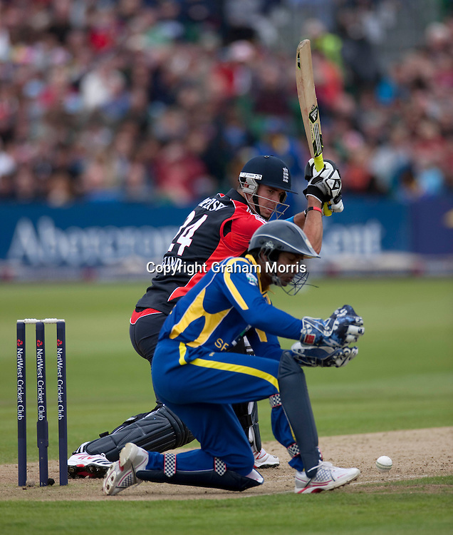 Kevin Pietersen past wicket keeper Kumar Sangakkara during the T20 international between England and Sri Lanka at Bristol.  Photo: Graham Morris/photosport.co.nz