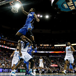 January 27, 2012; New Orleans, LA, USA; Orlando Magic forward Earl Clark (3) misses a dunk against the New Orleans Hornets during the fourth quarter of a game at the New Orleans Arena. The Hornets defeated the Magic 93-67.  Mandatory Credit: Derick E. Hingle-USA TODAY SPORTS
