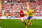 Michael Smith of Rotherham United (24) and Michael Morrison of Birmingham City (28) in action during the EFL Sky Bet Championship match between Rotherham United and Birmingham City at the AESSEAL New York Stadium, Rotherham, England on 22 April 2019.