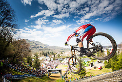 Aaron Gwin flies into the finish, winning the 2015 opening round of the UCI Mountainbike World Cup downhill in Lourdes, France.