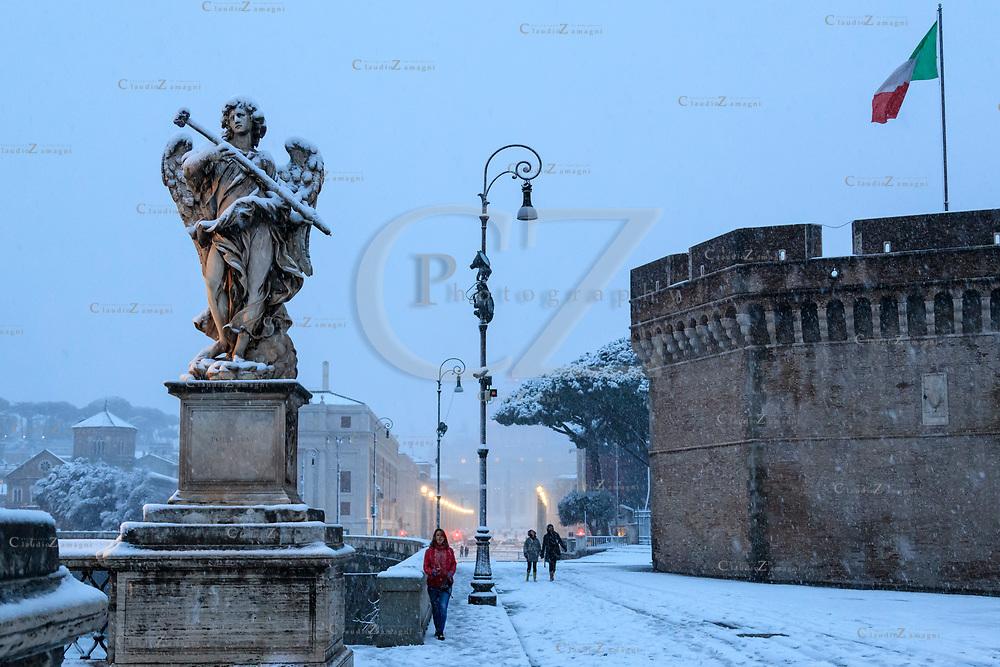 Rome under snow Castel Sant'Angelo<br /> &copy;Claudio Zamagni