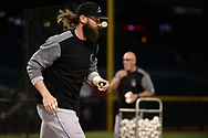 Apr 28, 2017; Phoenix, AZ, USA; Colorado Rockies outfielder Charlie Blackmon (19) warms up during batting practice prior to the MLB game against the Arizona Diamondbacks at Chase Field. Mandatory Credit: Jennifer Stewart-USA TODAY Sports
