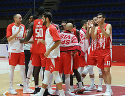 Players of Crvena Zvezda celebrate after winning during basketball match between KK Crvena Zvezda (SRB) and KK Primorska (SLO) in 1st league of ABA League 2019/20, on October 6, 2019 in Belgrade, Serbia. Photo by Nebojsa Parausic / Sportida