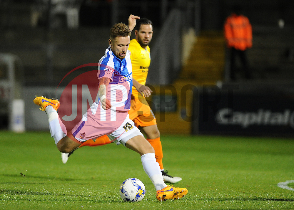 Matty Taylor of Bristol Rovers gets a shot away - Mandatory byline: Neil Brookman/JMP - 07966 386802 - 06/10/2015 - FOOTBALL - Memorial Stadium - Bristol, England - Bristol Rovers v Wycombe Wanderers - JPT Trophy
