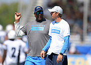 Aug 6, 2018; Costa Mesa, CA, USA: Los Angeles Chargers quarterbacks coach Shane Steichen (right) and offense quality control coach Dan Shamash during training camp at the Jack. R. Hammett Sports Complex.