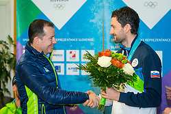 Enzo Smrekar and Jakov Fak during Arrival of Jakov Fak, Silver medalist at Olympic Games in Pyeongchang 2018, on February 25, 2018 in Aerodrom Ljubljana, Letalisce Jozeta Pucnika, Kranj, Slovenia. Photo by Ziga Zupan / Sportida