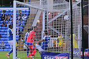 AFC Wimbledon midfielder Chris Whelpdale (11) heads AFC Wimbledon into the lead 1-0  during the EFL Cup match between Peterborough United and AFC Wimbledon at ABAX Stadium, Peterborough, England on 9 August 2016. Photo by Stuart Butcher.