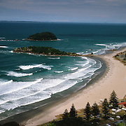 A View of Mount Maunganui Beach taken from top of 'The Mount' Mount Maunganu on a fine summers day. Mount Maunganu, Bay of Plenty, North Island, New Zealand. Photo Tim Clayton