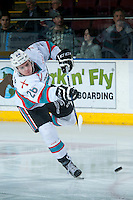 KELOWNA, CANADA - MARCH 5: Cole Linaker #26 of Kelowna Rockets warms up against the Kamloops Blazers on March 5, 2016 at Prospera Place in Kelowna, British Columbia, Canada.  (Photo by Marissa Baecker/Shoot the Breeze)  *** Local Caption *** Cole Linaker;