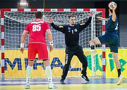 06.01.2019, Olympiaworld, Innsbruck, AUT, Österreich vs Griechenland, Continental Cup, im Bild v.l. Lukas Herburger (AUT), Thomas Bauer (AUT), Efstathios Zampounis (GRE) // v.l. Lukas Herburger (AUT), Thomas Bauer (AUT), Efstathios Zampounis (GRE) during the handball Continental Cup match between Austria and Griechenland at the Olympiaworld in Innsbruck, Austria on 2019/01/06. EXPA Pictures © 2019, PhotoCredit: EXPA/ Johann Groder