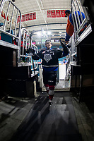KAMLOOPS, CANADA - NOVEMBER 5:  Scott Walford #7 of Team WHL (Victoria Royals) exits the ice after warm up against the Team Russia on November 5, 2018 at Sandman Centre in Kamloops, British Columbia, Canada.  (Photo by Marissa Baecker/Shoot the Breeze)