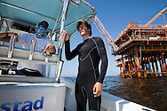 Frank Pope, checking out BP oil on the surface of the Gulf of Mexico