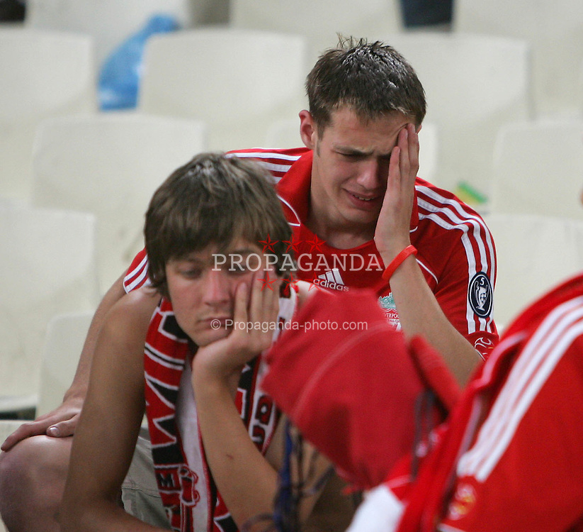 Athens, Greece - Wednesday, May 23, 2007: Liverpool's fans look dejected after losing 2-1 to AC Milan during the UEFA Champions League Final at the OACA Spyro Louis Olympic Stadium.  (Pic by Chris Ratcliffe/ Propaganda)