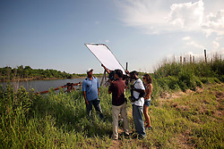 01 June 2010. New Orleans, Louisiana, USA.  <br /> Jarrod Burrle at the Breton Sound Marina in Hopedale on set for Spike Lee's upcoming movie, 'If God is Willing and da Creek Don't Rise.'<br /> Photo ©; Charlie Varley/varleypix.com.