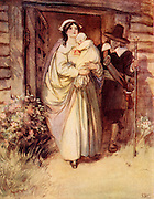 Scene from 'The Scarlet Letter' (1850) novel by the American author Nathaniel Hawthorne (1804-1864). Set in the times of the dour Puritan pioneers of New England the heroine, Hester Prynne, has to wear the scarlet letter A for Adultery embroidered on her bodice.  Here she is being led to the public pillory.  Illustration by Hugh Thomson (1860-1920) for an edition published in 1820. Halftone.