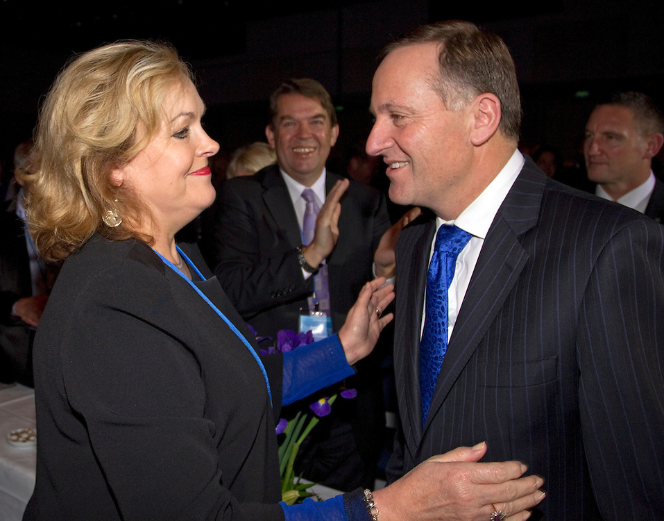 MP Judith Collins, left, greets Prime Minister and Party Leader John Key as he arrives to make his speech at the 76th National Party Annual Conference, Auckland, New Zealand, Sunday, July 22, 2012.  Credit:SNPA / David Rowland