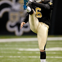 January 1, 2012; New Orleans, LA, USA; New Orleans Saints punter Thomas Morstead (6) prior to kickoff of a game against the Carolina Panthers at the Mercedes-Benz Superdome. Mandatory Credit: Derick E. Hingle-US PRESSWIRE