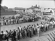 Croke Park Ticket Queues.1983.28.08.1983.08.28.1983.28 August 1983.Image taken as thousands of Dubliners queue to capture vital All Ireland Replay Tickets. The replay Between Dublin and Cork was to be held in Cork...Note: Dublin beat Cork in a very exciting encounter and the went on to beat Galway 1.10 to 1.08 in the final at Croke Park.