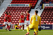 Swindon Town forward Eoin Doyle celebrates a goal with Swindon Town winger Lloyd Isgrove (3-0) during the EFL Sky Bet League 2 match between Swindon Town and Macclesfield Town at the County Ground, Swindon, England on 14 September 2019.