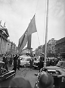 27/05/1957<br /> 05/27/1957<br /> 27 May 1957<br /> <br /> Aer Lingus 21st Anniversary Flag being Hoisted on O'Connell St.