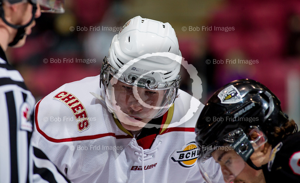 22 November 2014:  Jake Hand (15) of the Chiefs  during a game between the Chilliwack Chiefs and the Coquitlam Express at Prospera Centre, Chilliwack, BC.    ****(Photo by Bob Frid - All Rights Reserved 2014): mobile: 778-834-2455 : email: bob.frid@shaw.ca ****